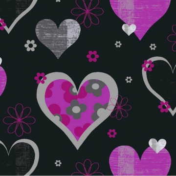 Happy Hearts Black and Pink 533703