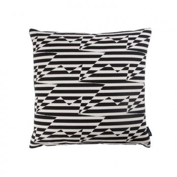 KDC5161-02 STRIPEY-ZIG-ZAG-BIRDS-CUSHION-MONOCHROME