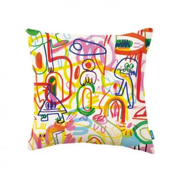 KDC5135-01 RAINBOW-SCRAWL-CUSHION-RAINBOW-SCRAWL