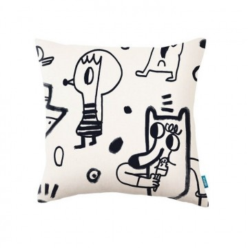 KDC5145-01 NEW-YORK-SCRAWL-CUSHION-LIQUORICE