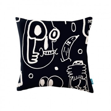 KDC5145-02 NEW-YORK-SCRAWL-CUSHION-NOIR