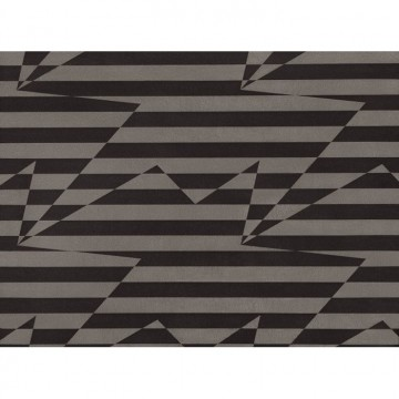 WK809-01 STRIPEY-ZIG-ZAG-BIRDS-WALLCOVERING-NOIR