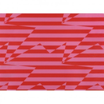 WK809-02 STRIPEY-ZIG-ZAG-BIRDS-WALLCOVERING-CRIMSON
