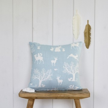 Enchanted Wood Cushion - Duck Egg Blue
