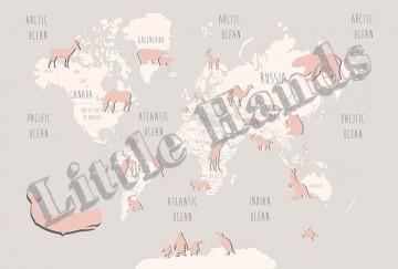 Pink Animals World Map