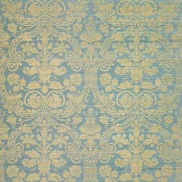 T1006_Metallic Gold on Mineral Blue CURTIS SILK DAMASK