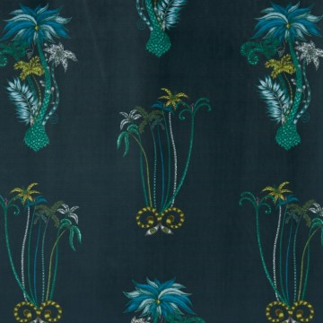 JUNGLE PALMS NAVY VELVET F1209-01