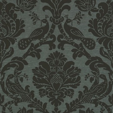 Passaro Damask T89150 Black on Charcoal