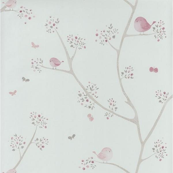 MLW29834318 ALLOVER OISEAUX ROSE