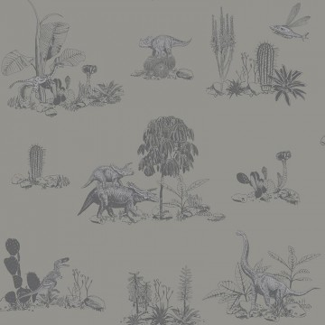Magnetic Classic Dino Wallpaper Grey