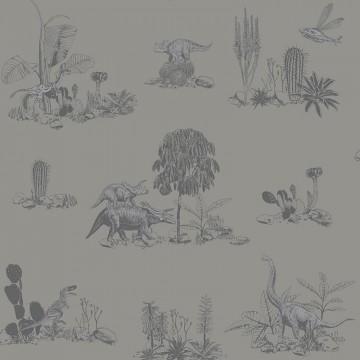 Classic Dino Wallpaper Grey