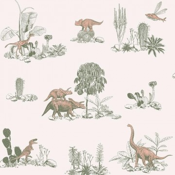 Classic Dino Wallpaper Pink Green