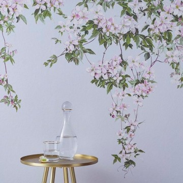 Classic Clematis Mural Wallpaper Dusty Blue