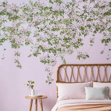 Magnetic Classic Clematis Mural Wallpaper Pink