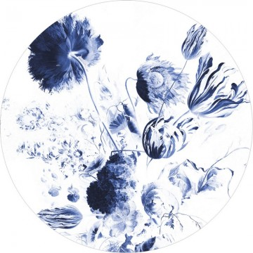 BC-002 Wallpaper Circle XL Royal Blue Flowers