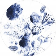 BC-002 Wallpaper Circle XL Royal Blue Flowers