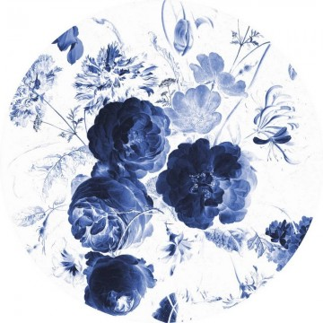CK-001 Wallpaper Circle Royal Blue Flowers