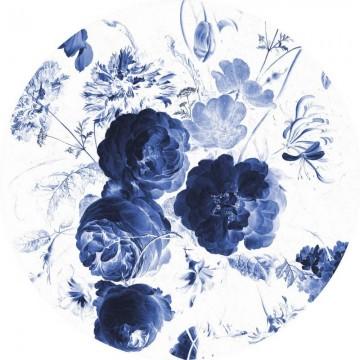 CK-001 Wallpaper Circle Royal Blue Flowers