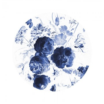 SC-001 Wallpaper Circle Royal Blue Flowers