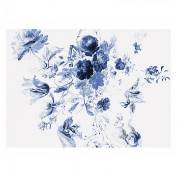 WP-225 Wall Mural Royal Blue Flowers 3