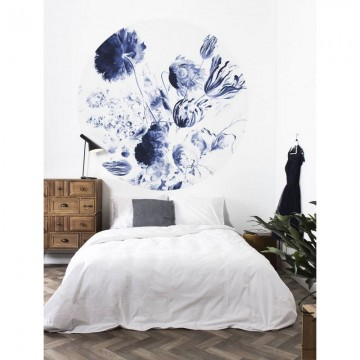 CK-002 Wallpaper Circle Royal Blue Flowers
