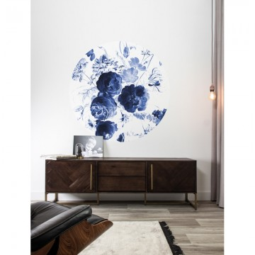 SC-001 Wallpaper Circle Royal Blue Flowers