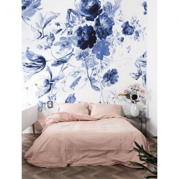 WP-209 Wall Mural Royal Blue Flowers 3