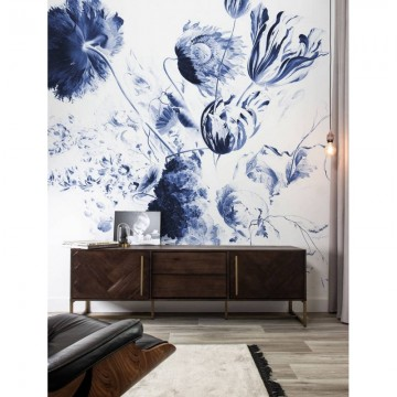 WP-218 Wall Mural Royal Blue Flowers 2