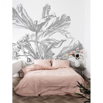 WP-673 Wall Mural Engraved Flowers