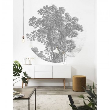 CK-103 Wallpaper Circle Engraved Tree