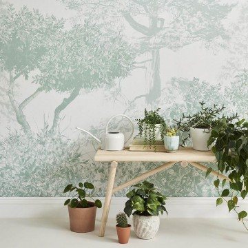 Magnetic Classic Hua Trees Mural Wallpaper Dusty Green