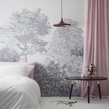 Magnetic Classic Hua Trees Mural Wallpaper Grey