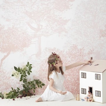 Classic Hua Trees Mural Wallpaper Pink