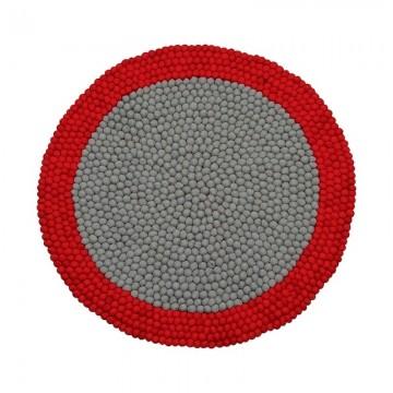 Alfombra bolas de fieltro Mix Red H0197