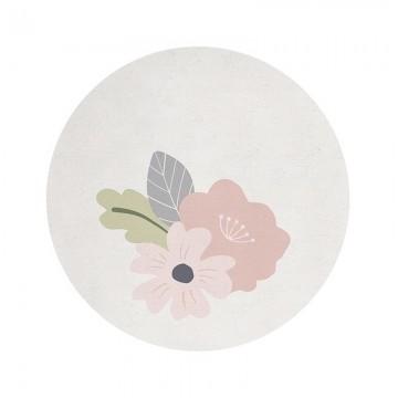 Alfombra circular con flores h0453