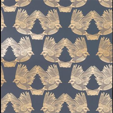 Birds Deep Blue Gold