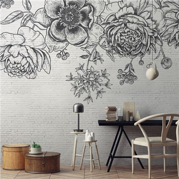 Black Flower Brick Wall DOM402
