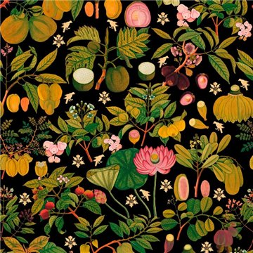 Asian Fruits And Flowers Anthracite WP20314
