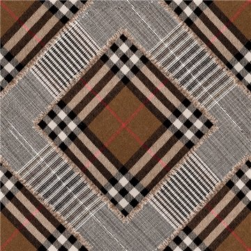 Checkered Patchwork Mid Brown WP20390