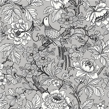 Beaufort Light Grey Flowers & Birds Chinoiserie ECB80407