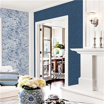 Tiverton Dark Indigo Faux Grasscloth ECB81712