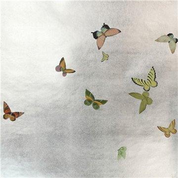 Butterflies Butterflies Emerald on Tarnished Slver gilded paper