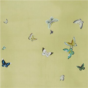 Butterflies Butterflies Full custom on Pea Green dyed silk