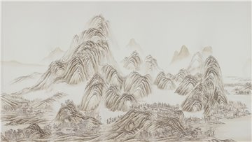 A Thousand Li of Rivers and Mountains A Thousand Li of Rivers and Mountains Full custom on Bleached White dyed silk