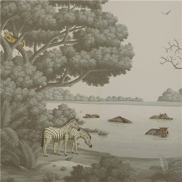 African Savannah Eden on Crystal Grey scenic paper
