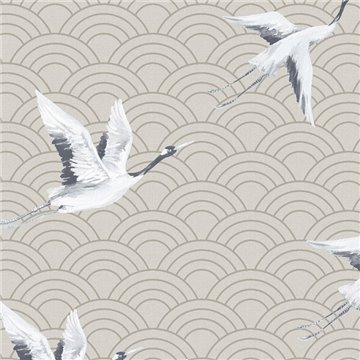 Japanese Cranes Light Gold DYW0011