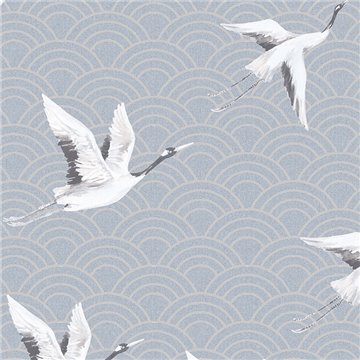 Japanese Cranes Teal DYW0015