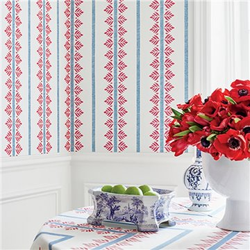 Fern Stripe Red and Blue AT15105