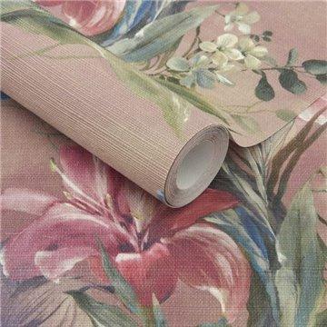 Lilliana Blush Pink Luxury Floral Grasscloth 2109-154-01