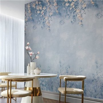 Trailing Magnolia Chambray Blue Luxury Floral Wall Mural 2109-158-03